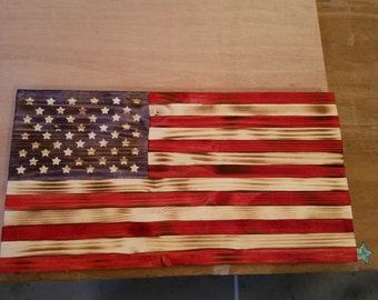 Rustic flags, handmade, stained, and pieced together