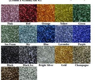 "19swg 5/32"" ID Shiny Anodized Aluminum Multi-Color Jump Ring Kits - Saw Cut - (1.0mm x 4.1mm ID)"