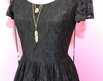 Vintage lace dress/black lace dress/redesigned lace dress/80's lace dress/FAB 208 NYC/classic 80's dress
