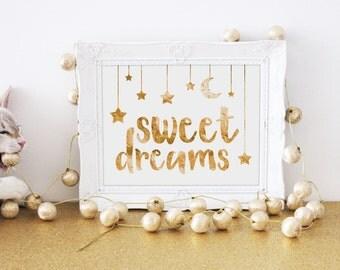 Nursery Wall Art, Gold Lettering, Nursery Decor, Baby Gift, Baby Girl, Baby Boy, Children's Art Prints, Sweet Dreams, Stars, Moon, Mobile