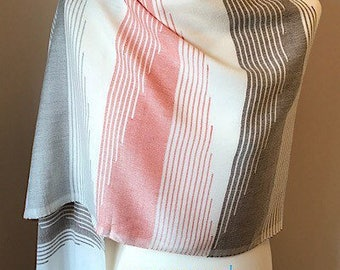 Handwoven summer scarf, handmade pink shawl, cream evening wrap, gift for her, spring fashion accessory, patterned Egyptian cotton