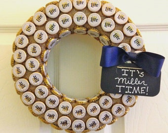 Miller Lite Beer Cap & Burlap Upcycled Repurposed Wreath Wall Hanging, It's Miller Time or Personalized Sign