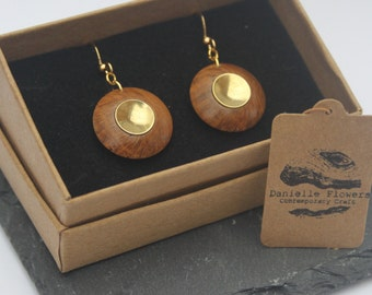 Wood Turned Oak Root, Drop Earrings, Gold Plated Findings, Circle, Brass, Dome, Unique, Handcrafted, Wooden Earrings