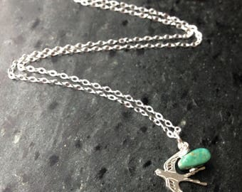 Sterling silver handmade swallow and turquoise necklace