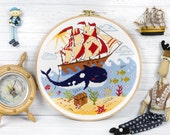 Nautical cross stitch pattern Nursery Ocean Ship Sailorboat Sea Whale Summer Treasure chest Colorful Kids Baby room Instant download PDF