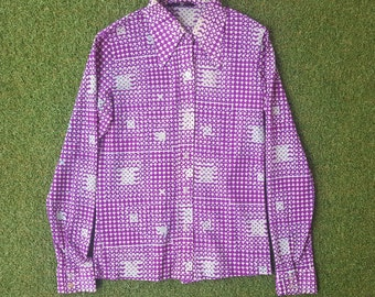 70s Dress Shirt, Slim Fit, Geometric Print, Abstract Print, Long Sleeve, Button Up, Size Small, Festival, Stranger Things, Purple and White