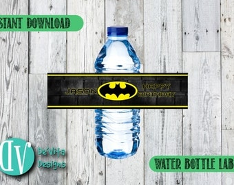 Personalized Batman Water Bottle Labels - Superheroes Labels - Boy Theme - PRINTABLE - INSTANT DOWNLOAD - DeVita Design