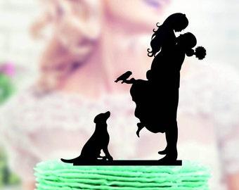 wedding cake topper with dog , Wedding Cake Topper + dog , Wedding Cake topper with Cat , Wedding cake topper with dog , family cake topper