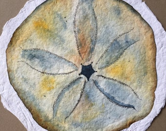 Original Watercolor Sand Dollar on 100% Rag Paper