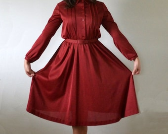 Mulberry Muse Dress   vintage 70's does 40's wine red day dress   JC Penney