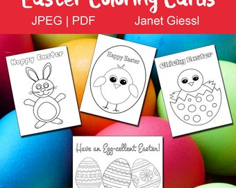 Easter Coloring Cards - Set of 4