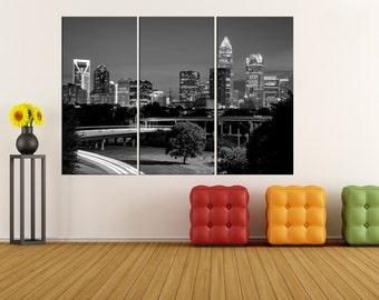 black and white charlotte skyline Large wall art canvas Print, charlotte canvas wall art print, extra large canvas art, modern art 8s25