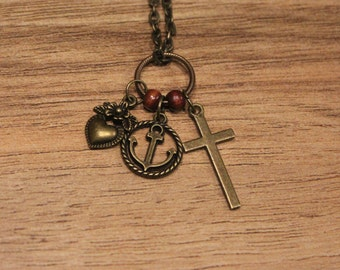 Antique bronze cross, anchor, and heart necklace