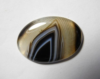 Rare- Black agate Natural Banded Agate cabochon, Banded Agate gemstone, Banded Agate loose gemstone, Banded Agate loose stone 26 Cts. R-25