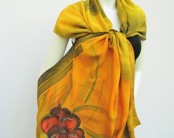 Hand painted long silk scarf, silk shawl, orange silk scarf, moss green scarf, red flower scarf, unique, one-of-a-kind
