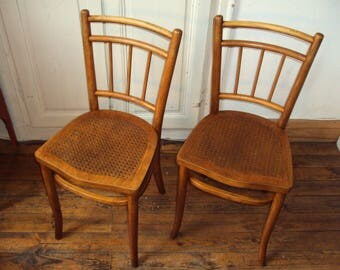 Set B, 2 wood bentwood seat THONET chairs perforated, embossed/engraved, caning in relief, bistro, retro decor, vintage