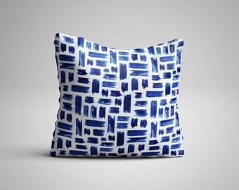 Blue Paint Strokes Cushion.