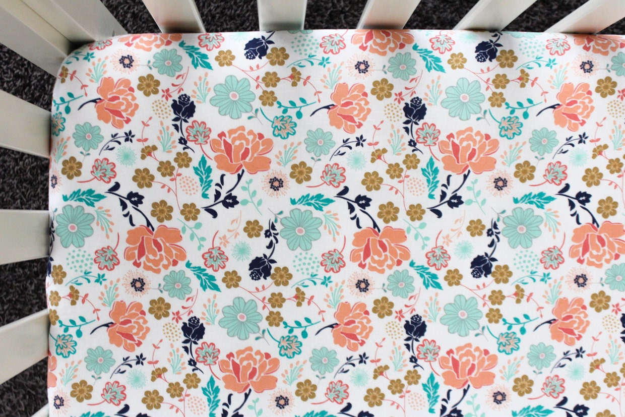 Coral And Turquoise Floral Fitted Crib Sheet Crib Bedding