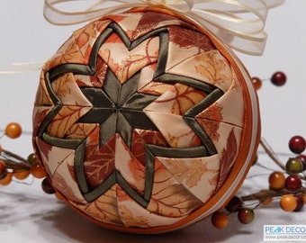 """Hand-Crafted Quilted Ornament - 4"""" Pumpkin"""