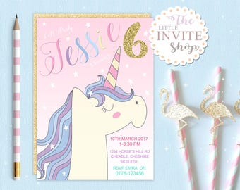 Unicorn Magic Pony Invite | Girls Birthday Party Invitation | Digital Download | Customised Personalised | Printable | Pink Stars