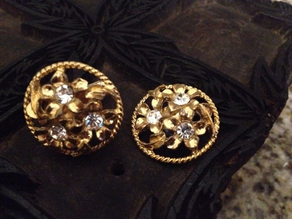 SALE Vintage Made from Vintage Gold and Rhinestone Earrings, Circa 1950s