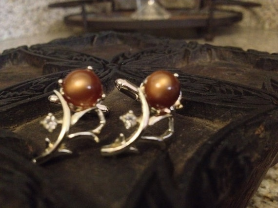 SALE Vintage Cufflinks Made from Vintage Emmons Silver and Brown Stone Necklace