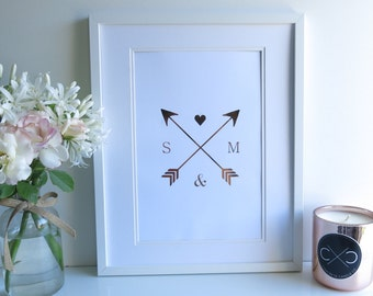 Custom Created Personalised Initial, Arrows and Heart Gold Foil A4 Print | Wedding Gift | Engagement