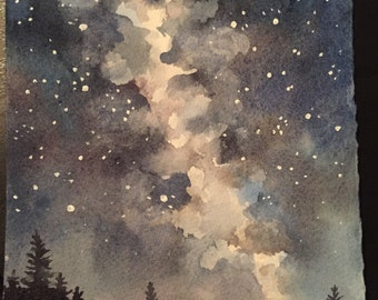 Night Sky Originial Watercolor