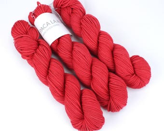 Red Hand Dyed Yarn - Aran 50gr