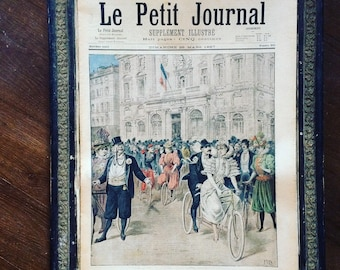Antique French newspaper. Le Petit Journal. Supplément illustré. Wedding. Garden. Militaria. Color Illustrations. Ephemera. XIXe.