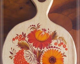 APPLE shaped BOARD, Appetizer Platter,Serving Platter, original acrylic painting by Halyna Kulaga