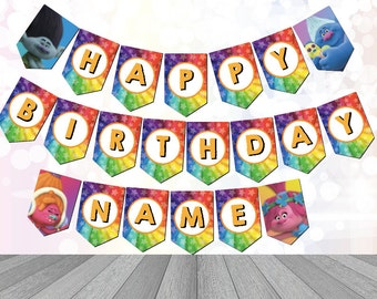 Trolls Party Supplies Bunting customizable Digital Download Printable Trolls Birthday