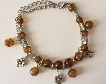 Vintage 1970's Brown Bead Silver Flower Chain Bracelet