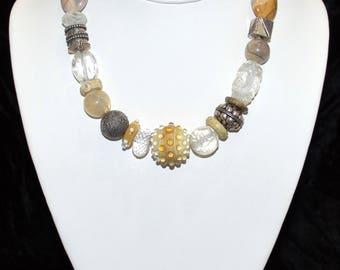 """16"""" Necklace - Lampwork Quartz"""