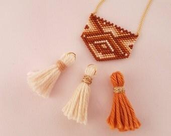Necklace color Ohneka, Cognac, orange, ecru