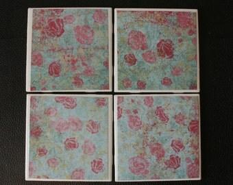 """Antiqued Flower Patterned (lt blue,pink) Ceramic Coasters 4.25"""" x 4.25"""" - Set of 4"""