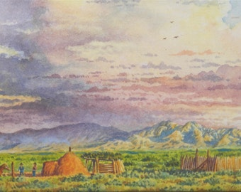 Colorful Calvin Toddy Original Miniature Watercolor - Southwestern Landscape Painting - Navajo Art - Native American Art - Sky and Mountains