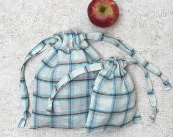 smallbags - light blue - Plaid 2 sizes - reusable linen bags - zero waste