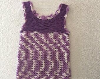 PDF crochet pattern, crochet dress in purple gr.86-92(98-104)110-116