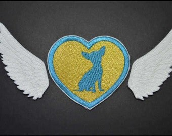 Little Angel wings with Chihuahua Iron On Applique Embroidered Patches Machine Embroidery Design for Angel wings -lover