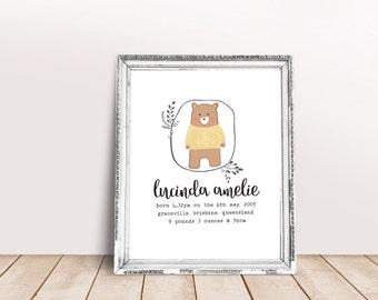 Custom Birth Print, Bear Print, Nursery Wall Art, Child's Print, Personalised Print, Baby Welcoming Party Gift, Newborn Present, Printable