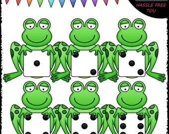 Dice Frogs Clip Art and B&W Set