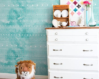 Geometric watercolor wallpaper, Turquoise wall mural for nurseries and kids rooms, Reusable, Removable #106