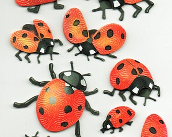 Lady Bugs Garden Spring Glitter 3D Stickers Forever In Time Scrapbook Embellishments Cardmaking Crafts