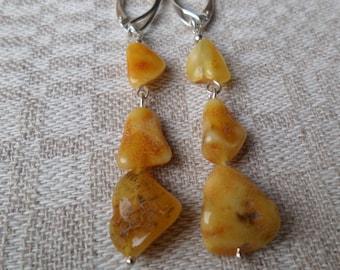 Genuine Baltic Amber Butterscotch Earrings 925 Sterling Silver (0019)