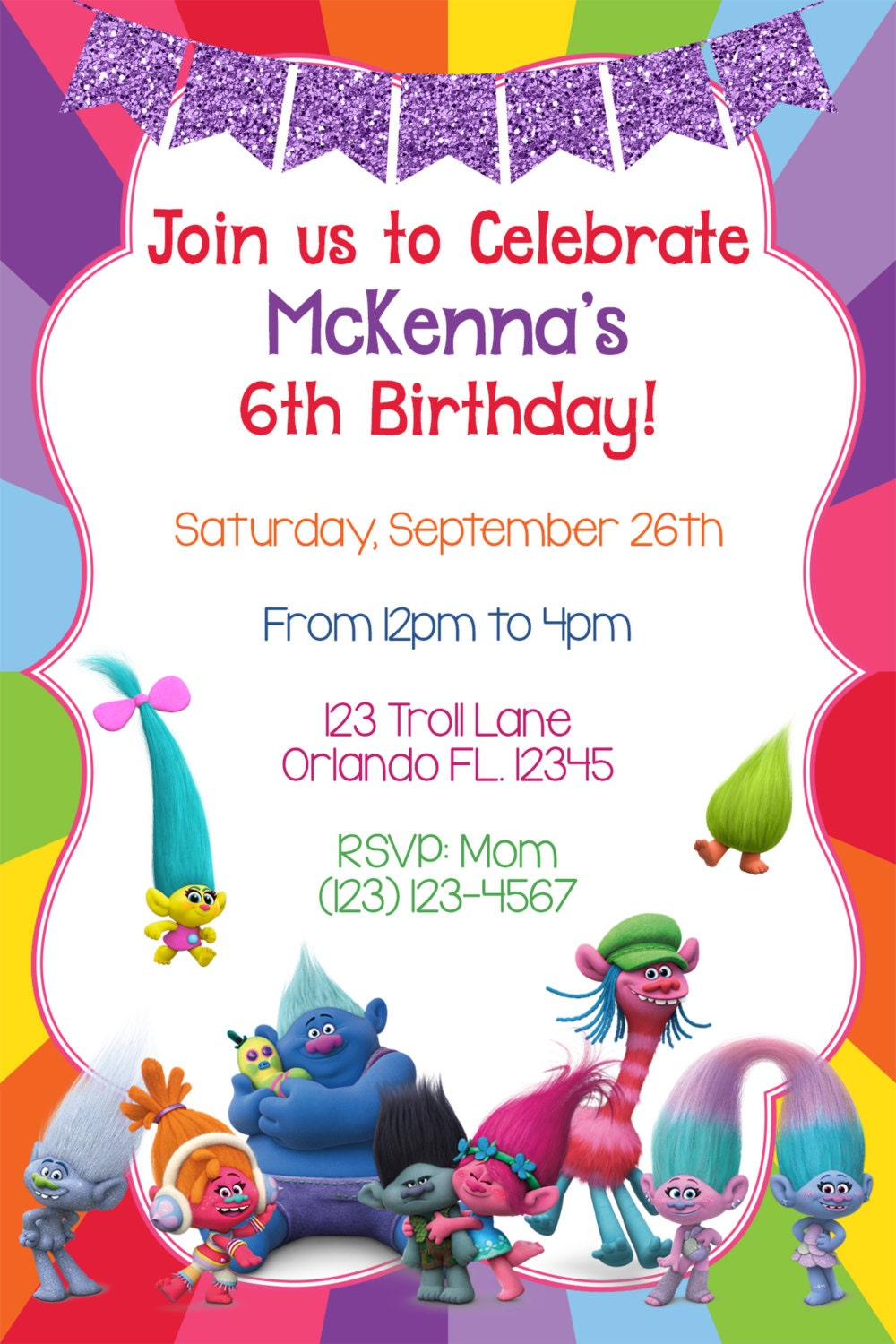 Playful image regarding trolls printable invitations