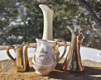 Vintage Miniature Pitchers - Set of 4 - Gold Metallic - Tiny Souviners - Made in Japan and China