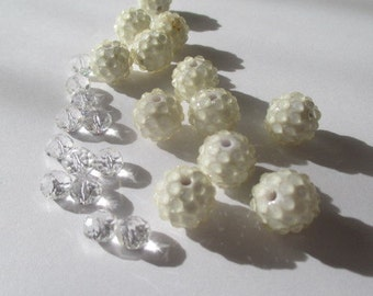 White Lucite Bumpy Beads with Accent Beads