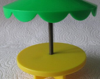 Vintage 1970's Fisher Price Little People Round Picnic Table with Umbrella