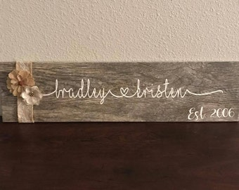 Custom Name Wood Tile Sign with Burlap Flowers